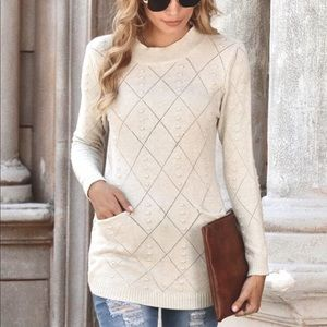 NWT Open Stitch Double Pocket Sweater